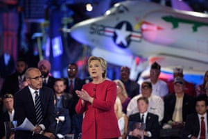 Matt Lauer and Hillary Clinton at the air and space museum aboard the aircraft carrier USS Intrepid.