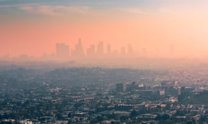 Smog over Los Angeles, California. 'If a child was born in Los Angeles county today, they would be exposed to the same amount of pollution the average child was exposed to in the early 1990s,' said Jonathan Colmer.