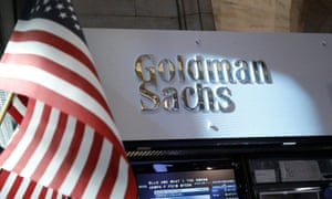 Goldman Sachs stall on the floor of the New York Stock Exchange