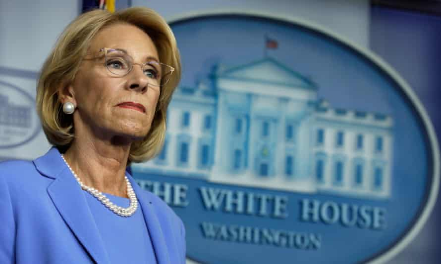 The US Department of Education, led by education secretary Betsy DeVos, has been slow to respond to educators' requests for guidance.