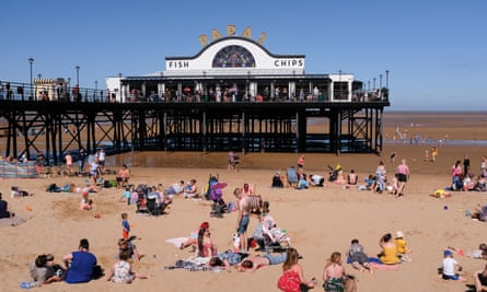 Cleethorpes seafront with tourists close to the pier