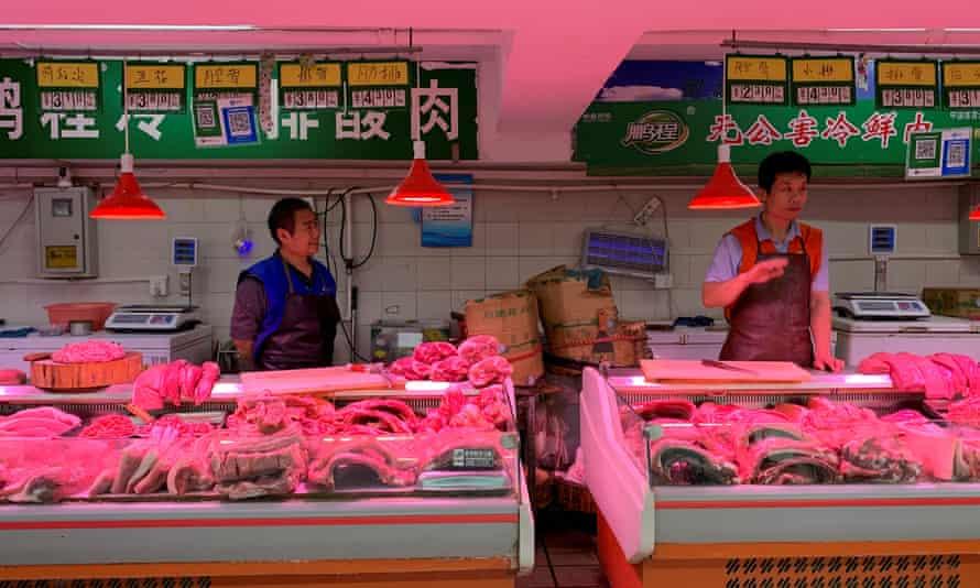 Pork vendors in Beijing, China