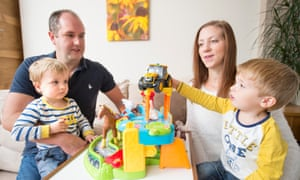 James and Karen Abbott at home in Portishead with their twins Ethan and Oliver
