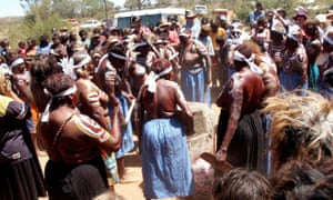 Women perform a traditional dance at the commemoration of the 75th Anniversary of the Coniston Massacre at Brooks Soak north of Alice Springs in 2003.