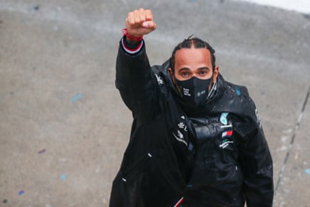 Saluting a movement ... Hamilton wearing a Black Lives Matter face mask during Saturday's Grand Prix in Istanbul.
