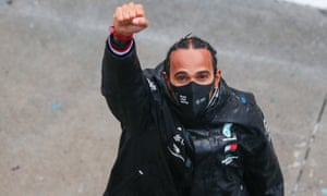 Hamilton wearing a Black Lives Matter face mask during Saturday's Grand Prix in Istanbul
