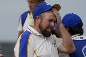 Team Europe's Shane Lowry reacts after conceding on the 16th hole.