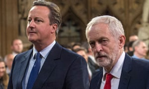David Cameron, next to Labour leader Jeremy Corbyn, at the state opening of parliament