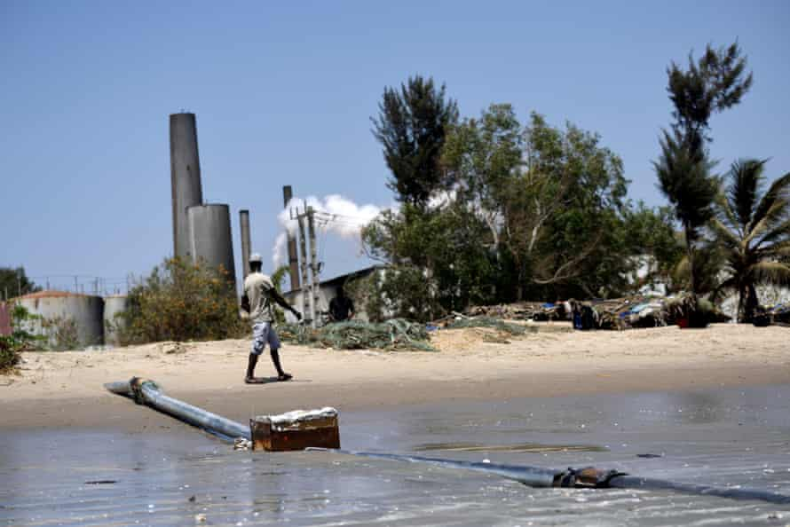 A waste pipe belonging to Golden Lead, a Chinese-owned fishmeal factory in the Gambian fishing village of Gunjur