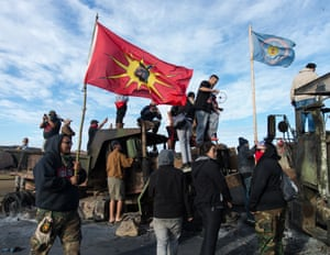 Protesters demonstrate against construction of the Dakota Access oil pipeline at Standing Rock reservation, North Dakota, 2016
