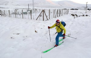 Loch Glascarnoch, ScotlandA cross country skier skis past the weather station where the temperature was -12.3C, the coldest night since February 2019