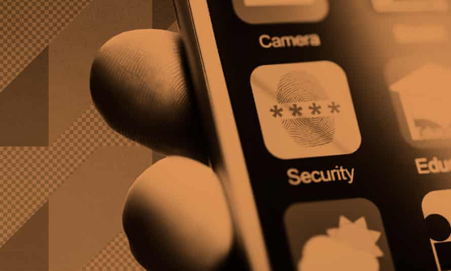 Security and camera icons on a phone