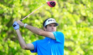 Bubba Watson plays his tee shot at the 18th hole during the third round of the 2016 World Golf Championships-Dell Match Play in Texas