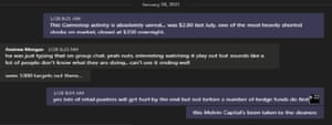 A screenshot of Asic conversations on Teams about GameStop