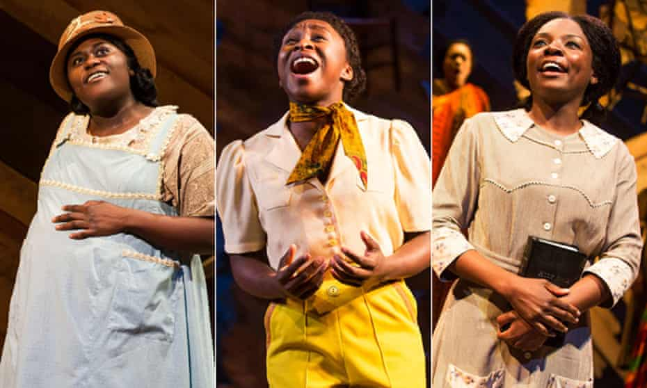 Composite of actresses in the stage version of The Color Purple at the Jacobs Theatre on Broadway (l to r: Danielle Brooks, Cynthia Erivo and Joaquina Kalukango).