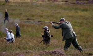 Members of a shooting party on the opening day of the grouse-shooting season.