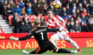 The forward scores against Leicester in his final season at Stoke.