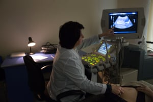 Dr Gayane Avetisyan performs an ultrasound on a pregnant patient at the Republican Maternity Hospital in Yerevan