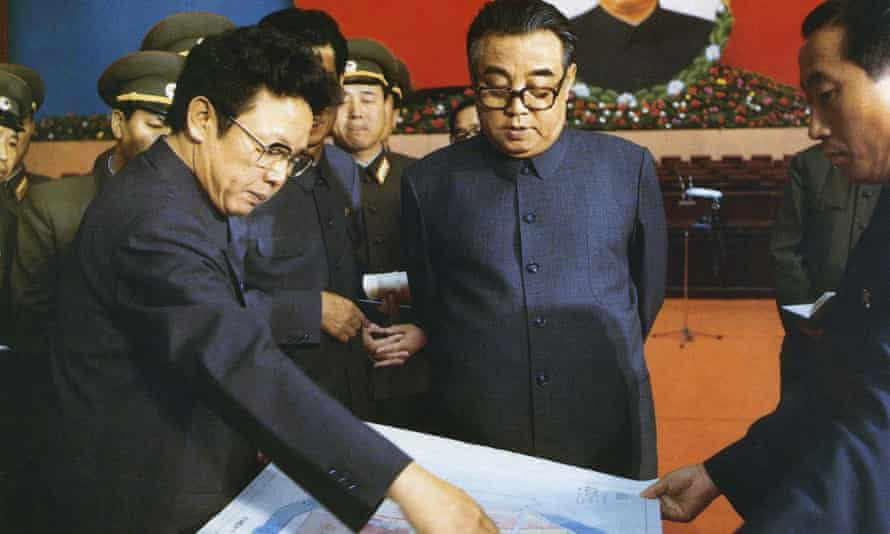 A picture from the last Workers' party congress in 1980 shows the then leader Kim Il-sung, centre, and his son Kim Jong-il, left
