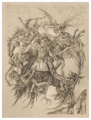 British artist Wolfe von Lenkiewicz draws new meaning from historic artworks to challenge our perspectives on art and popular culture. Here, Alice in Wonderland is redrawn in the image of Martin Schongauer's 15th-century engraving The Temptation of St Anthony.