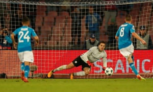 Napoli's Jorginho scores their second goal from the penalty spot.