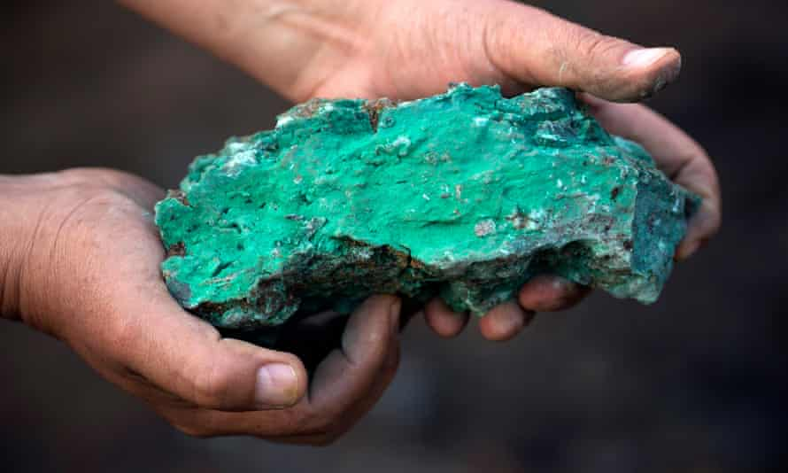 Copper-rich piece of rock