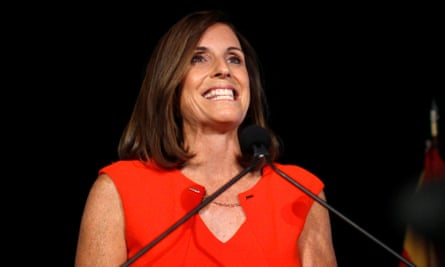 Martha McSally greets her supporters in Tempe, Arizona, after winning the Republican primary.