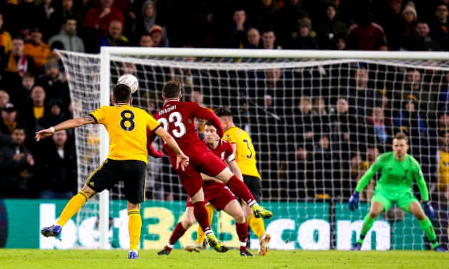 Ruben Neves makes it 2-1 for Wolverhampton in the FA Cup third round tie against Liverpool.