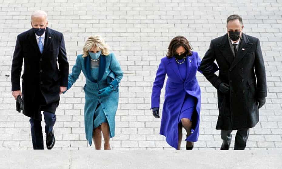 Joe Biden, Jill Biden, Kamala Harris and her husband, Doug Emhoff, arrive at the steps of the US Capitol ahead of Biden's inauguration