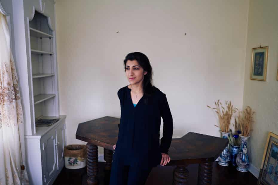 Lina Khan, the new chair of the Federal Trade Commission, at her home in Larchmont, New York.