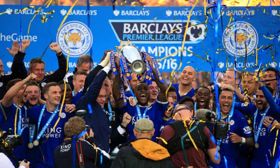 Leicester's Wes Morgan and Claudio Ranieri lift the Premier League in 2016