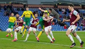 Norwich City's Grant Hanley heads home.