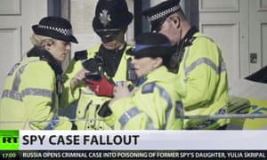 RT screengrab showing a report on the Sergei Skripal case