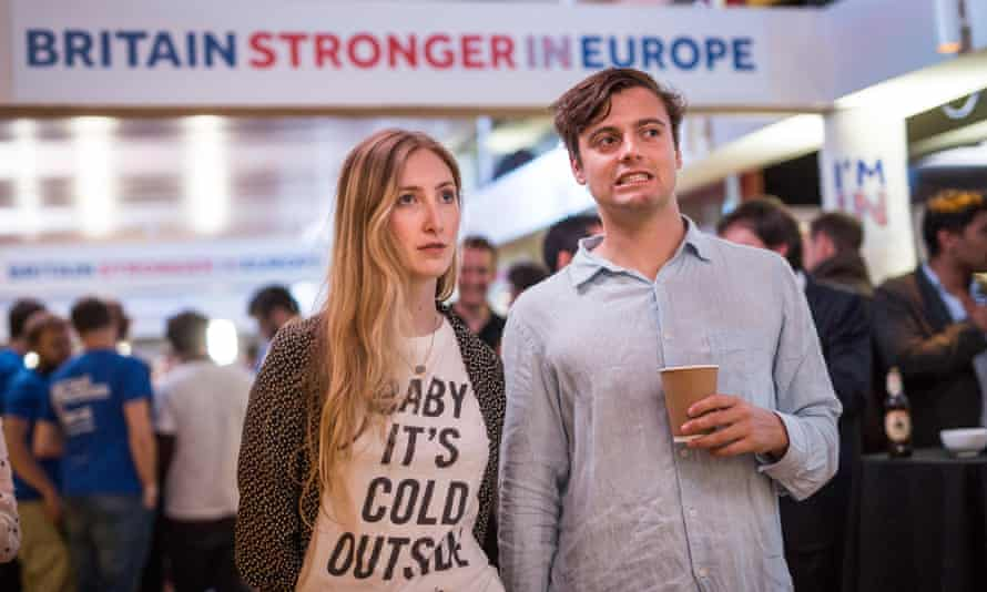 Supporters of the Stronger In Campaign react as June 2016's EU referendum does not go their way.