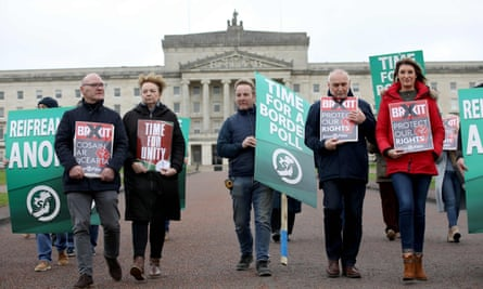 An anti-Brexit protest by Sinn Féin activists at Stormont, Belfast, in January.