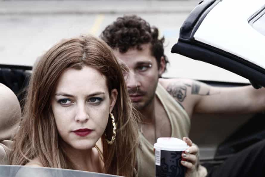 Riley Keough, 'channelling her grandfather Elvis Presley's moody stare', and Shia LaBeouf in American Honey.