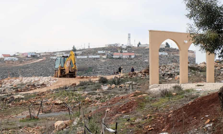 Construction activity and development in Israel's Esh Kodesh settlement in the West Bank
