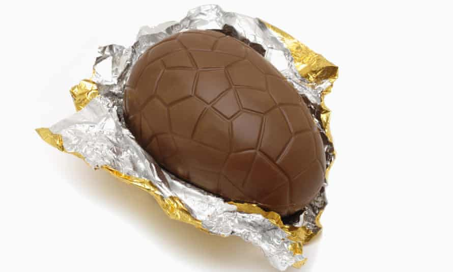 Milk chocolate easter egg in gold foil