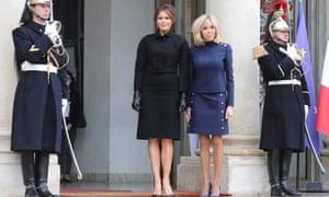 Melania Trump and Brigitte Macron.