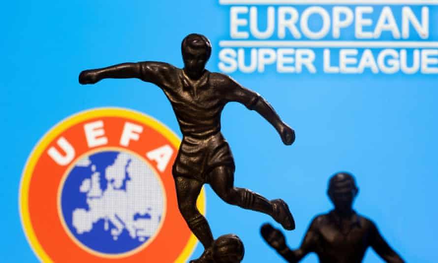 Uefa and European Super League logos