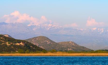 The Kom Monastery on a hillside above Skadar lake.