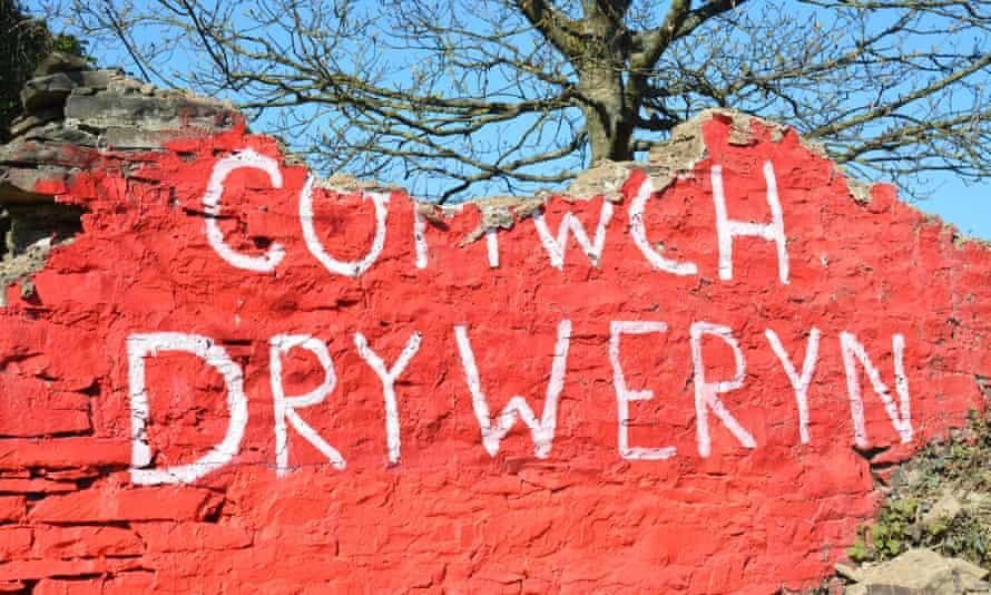 the vandalised mural near aberystwyth