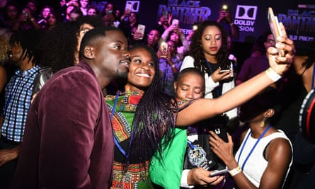 Kaluuya and fans at the Black Panther premiere in Los Angeles.