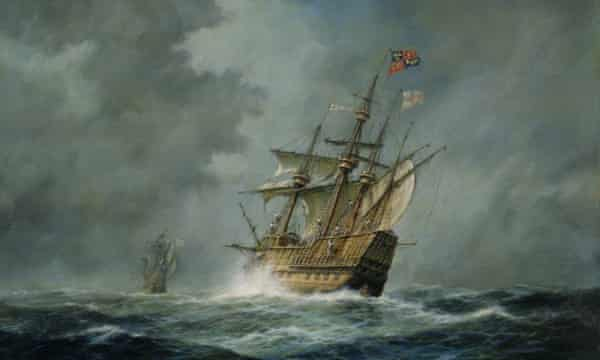 An oil painting of the Mary Rose. The ship sank in 1545.