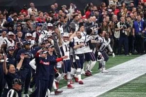 Tom Brady and Chris Hogan celebrate a late missed Rams field goal
