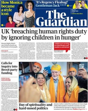 Guardian front page, Monday 20 May 2019