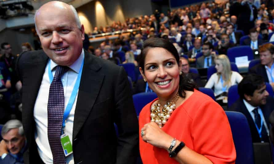 Priti Patel with former work and pensions secretary Iain Duncan Smith at the Conservative party conference.
