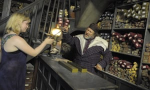 Hands off … a visitor to the Universal Studios Harry Potter Theme Park, Orlando, Florida, tries out a clearly fake wand.