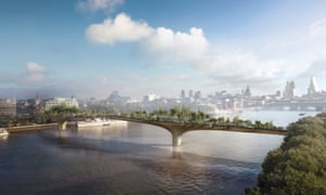 Thomas Heatherwick's design for the proposed £175m pedestrian garden bridge over the Thames in central London.