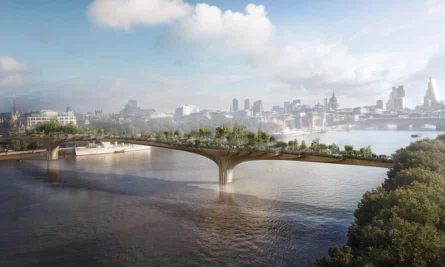 An artist's impression of the proposed London Garden Bridge.